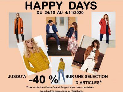 HAPPY DAYS du 24/10 au 4/11/2020